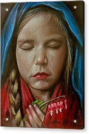 Tranquil Bleeding Hearts Acrylic Print by Linda Nielsen