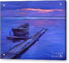Tranquil Boat Sunset Painting Acrylic Print by Svetlana Novikova