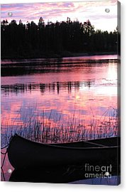 Tranquil Canoe In Sunset Acrylic Print