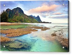 Tranquil Dawn Hawaii Acrylic Print by Monica and Michael Sweet