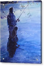Watercolor Tranquil Fishing Acrylic Print