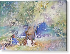 Acrylic Print featuring the painting Tranquility At The Brandywine River by Mary Haley-Rocks