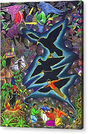 Acrylic Print featuring the painting Transformacion Del Chaman En Aguila  by Pablo Amaringo