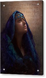 Transformation - Woman With Romans 12 2 Written In Original Greek  Acrylic Print