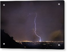 Acrylic Print featuring the photograph It's A Hit Transformer Lightning Strike by James BO Insogna