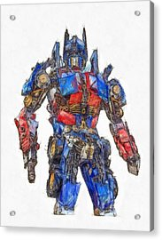 Transformers Optimus Prime Or Orion Pax Colored Pencil Acrylic Print by Edward Fielding