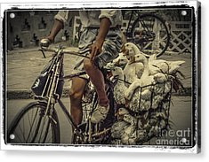 Acrylic Print featuring the photograph Transport By Bicycle In China by Heiko Koehrer-Wagner