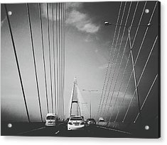 Transportation On Suspension Bridge Acrylic Print by Sirikorn Techatraibhop