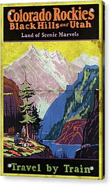 Travel By Train To Colorado Rockies - Vintage Poster Folded Acrylic Print