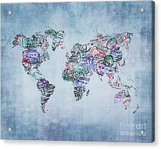 Traveler World Map Blue 8x10 Acrylic Print
