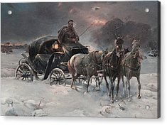 Traveller On A Winter Night Acrylic Print by Alfred Kowalski