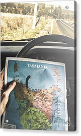 Travelling Tourist With Map Of Tasmania Acrylic Print