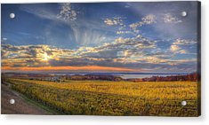 Traverse City From Old Mission At Sunset Acrylic Print by Twenty Two North Photography