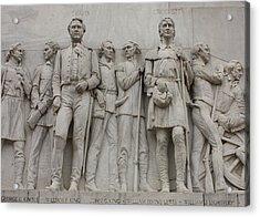 Travis And Crockett On Alamo Monument Acrylic Print