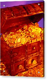 Treasure Chest With Gold Coins Acrylic Print