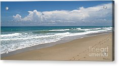 Treasure Coast Beach Florida Seascape C4 Acrylic Print by Ricardos Creations