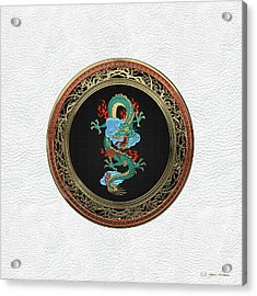 Treasure Trove - Turquoise Dragon Over White Leather Acrylic Print by Serge Averbukh