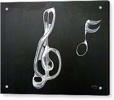 Acrylic Print featuring the painting Treble Clef by Richard Le Page