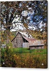 Tree And Barn Acrylic Print