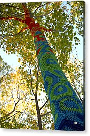 Tree Crochet Acrylic Print by  Newwwman