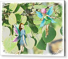Tree Fairies Among The Quaking Aspen Leaves Acrylic Print