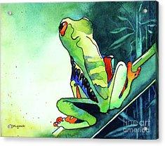 Tree Frog Eats Bugs Acrylic Print by Jo Lynch