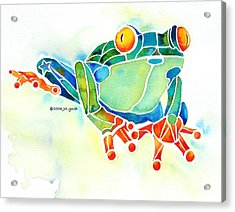 Tree Frog In Greens Acrylic Print by Jo Lynch