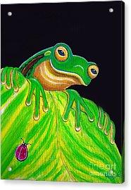 Tree Frog On A Leaf With Lady Bug Acrylic Print by Nick Gustafson