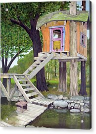 Tree House Pond Acrylic Print by Will Lewis