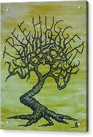 Acrylic Print featuring the drawing Tree Hugger Love Tree by Aaron Bombalicki