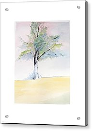 Acrylic Print featuring the painting Tree In Pastel Colors by Sibby S