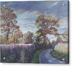 Acrylic Print featuring the painting Tree Lined Countryside Road by Martin Davey