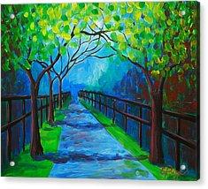 Tree Lined Fence Acrylic Print