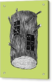 Tree Log With Mysterious Forest Creatures Acrylic Print