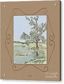 Tree Mirror In Lake Acrylic Print