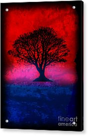 Tree Of Life - Red Sky Acrylic Print by Robert R Splashy Art
