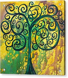 Tree Of Life - Yellow Green Acrylic Print