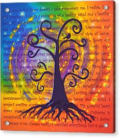 Tree Of Life And Positive Affirmations Acrylic Print