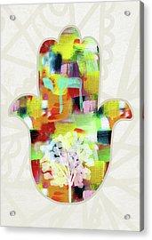 Tree Of Life Hamsa- Art By Linda Woods Acrylic Print by Linda Woods