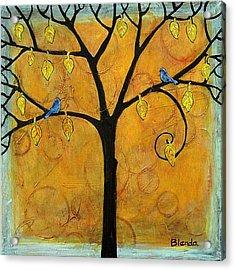 Tree Of Life In Yellow Acrylic Print by Blenda Studio