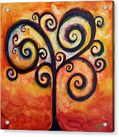 Tree Of Life Orange Acrylic Print by Christy Freeman Stark