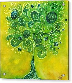 Tree Of Life Yellow Swirl Acrylic Print