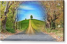Tree On The Hill Montage Acrylic Print
