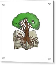 Tree Rooted On Book Tattoo Acrylic Print