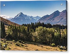 Acrylic Print featuring the photograph Tree View Of Mt Cook Aoraki by Gary Eason