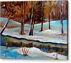 Trees At The Rivers Edge Acrylic Print by Carole Spandau