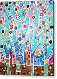 Trees Houses Landscape Acrylic Print by Karla Gerard