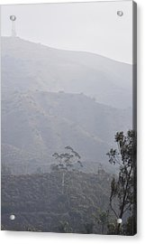 Trees In Early Morning Mist With Tower  Acrylic Print by Linda Brody