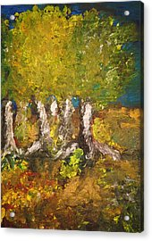 Acrylic Print featuring the painting Trees In The Evening by Evelina Popilian