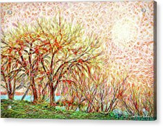Acrylic Print featuring the digital art Trees In Winter Under Full Moon At Dusk by Joel Bruce Wallach